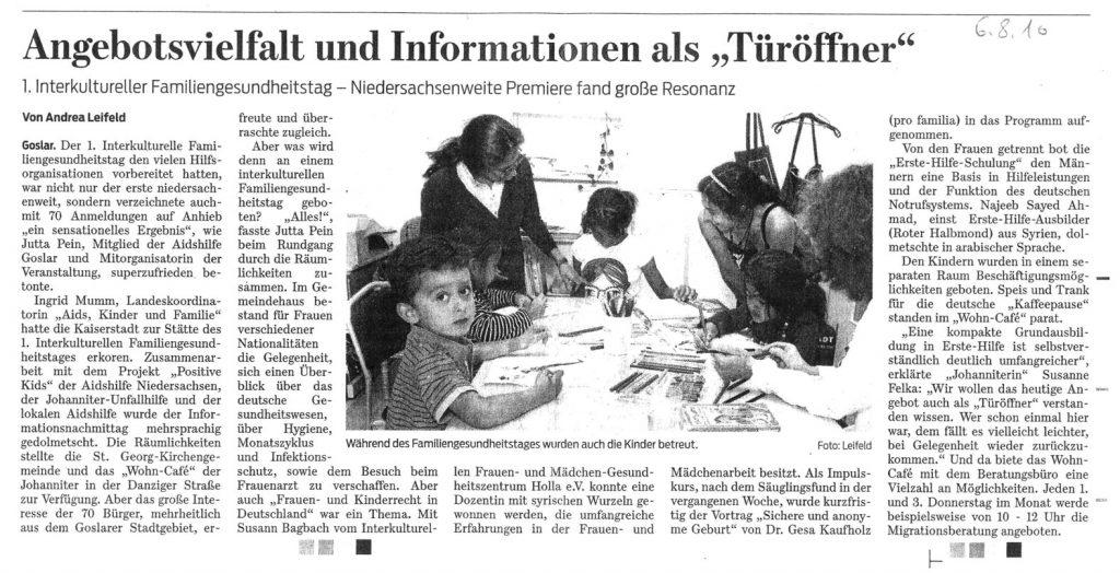 Artikel in der Goslarer Zeitung